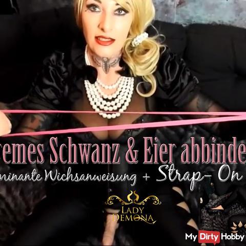 Extremes Schwanz & Eier abbinden +Stap on + dominante Wichsanweisung!    by Lady_Demona