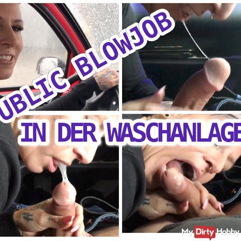 Public blowjob in the car wash