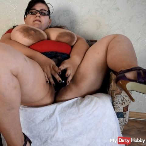 heels, squirt a fountain, fuck with black dildo and beg u to impregnate me