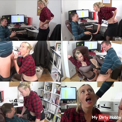 Horny secretary fucks with boss for salary increase