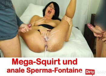 Mega-Squirt mit analer Sperma-Fontaine