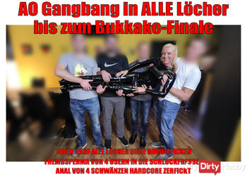 Bukkake Finale nach Hardcore 3Loch-Gangbang!