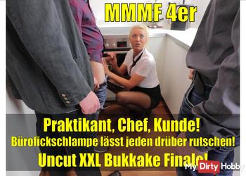 Büro-Fick-Orgie mit XXL Bukkake Finale! MMMF 4-ER