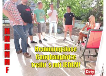 Hemmungslose Gangbang-Fotze treibt´s mit JEDEM! MMMMMF 6-ER!!