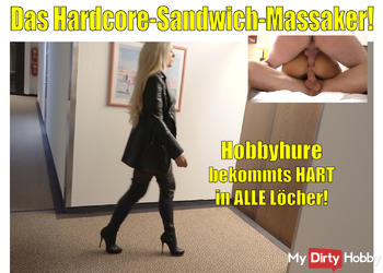 Das Hardcore Sandwich-Fick-Massaker | Hobbyhure bekommts hart in alle Löcher | Daynia