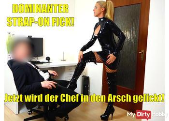 Dominanter Strap-On-Fick | Jetzt wird der Chef in den Arsch gefickt