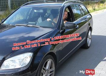 Hannes Überraschung´s USERTREFFEN!  Sein 1. Mal mit 2 ….!!! Doppelpenetration!