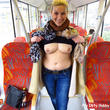 Breasts out on the train!