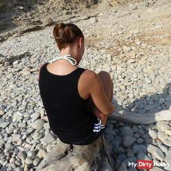 in FSH Nylons & shine shorts gym shorts on the beach