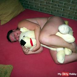 blown with a soft toy and cock