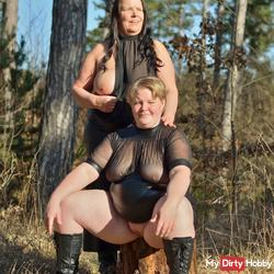 Buxom lesbians in sexy lingerie in the Woods 2