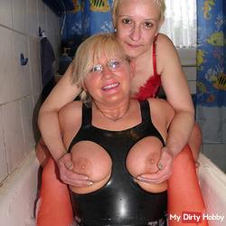 With Andrea in the bath