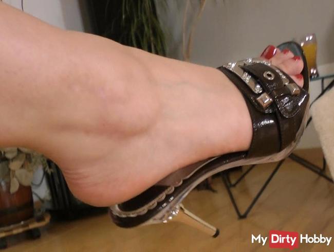 sexy mule high heels dangling