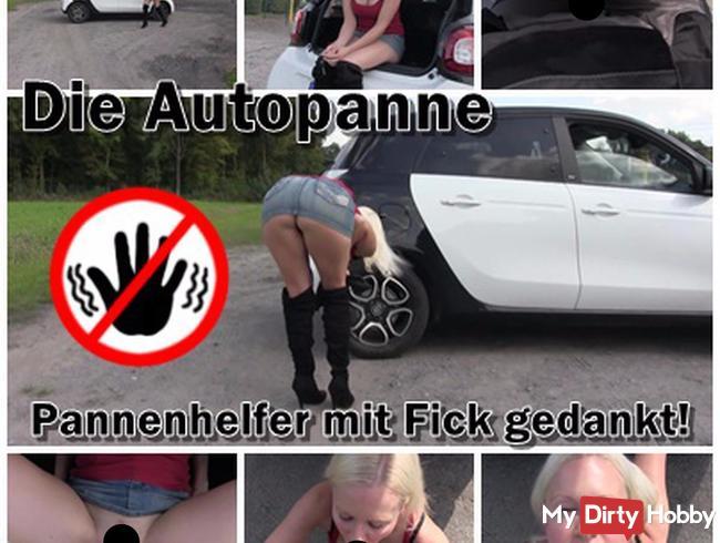 Die Autopanne! Stiefelschlampe entlohnt Pannenhelfer mit Fick! ;)