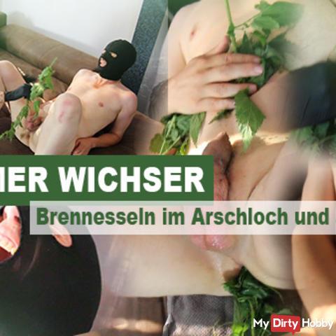 Extremer Wichser - Brennesseln im Arschloch und am Pimmel!