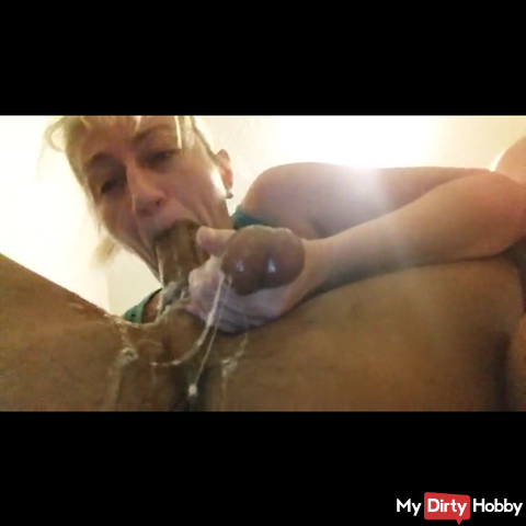 Gagging on black cock