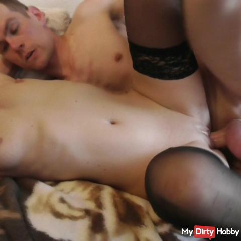 Hot fuck with huge cock (continued from the bathroom)