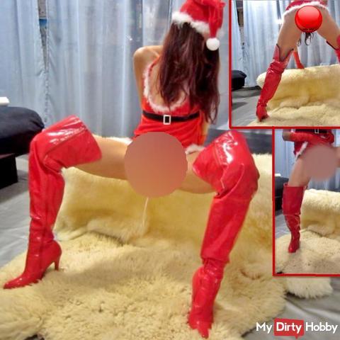 Weihnachts-pi** in Lack-Overknees auf Schaffelle 2