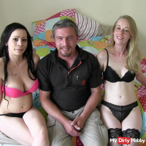 MEGA Threesome fucking with natural breast DD !!