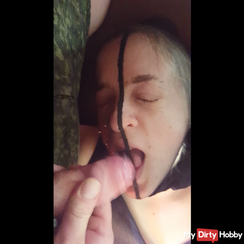Nylon Blowjob with cumshot