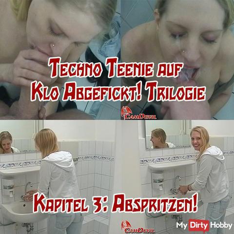 Techno Teenie on toilette Fucked! 3 v 3