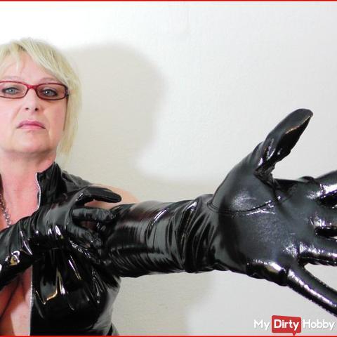 Lack Handschuhe ZWANGSMELKEN - Domina BDSM Sklave