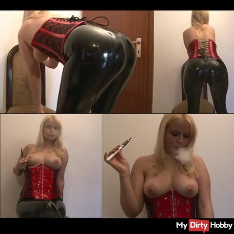 Smoking fetish in latex pants and corsage