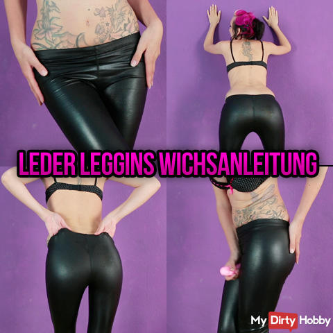 Leather leggins & dildo play jerk off