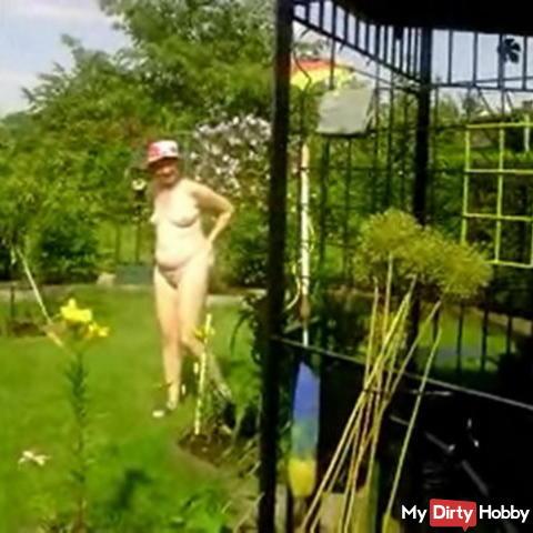 Naked garden walk.