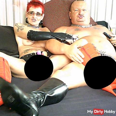 Fetish Red Boots and str*p On