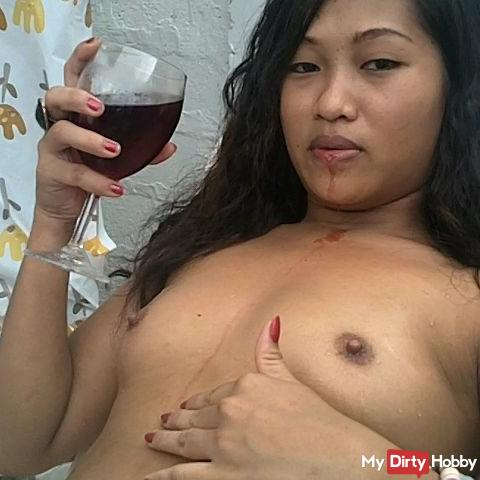 Wine on my tits
