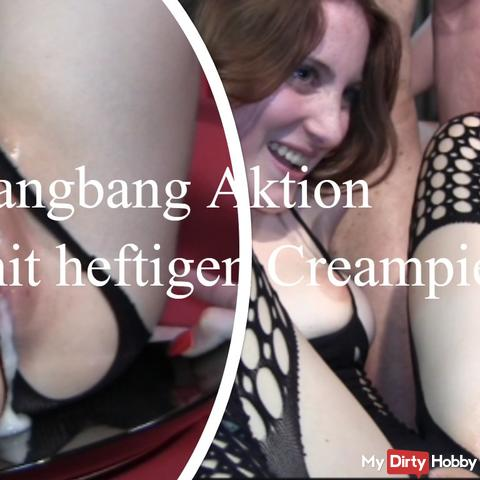 Gangbang with extreme creampie