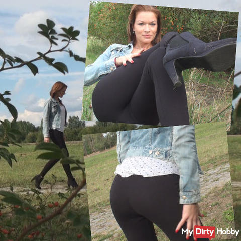 Outdoor with horny high heels and leggings!
