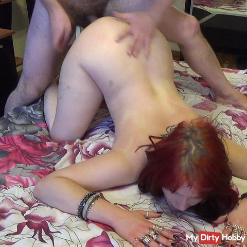 He fuck me in all my golden jewerly like a cheap whore and cumming in his condom