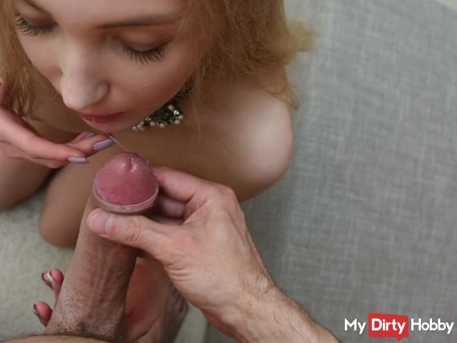 Blowjob finale with cumshot POV perspective