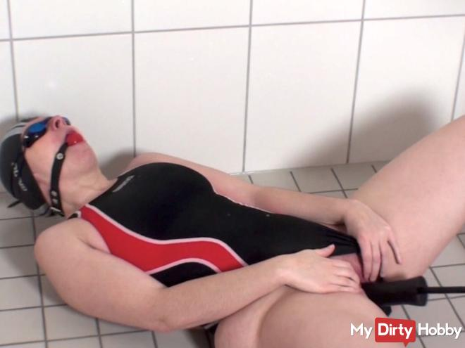 Gagged and fucked with black dildo shaft in the shower_HD