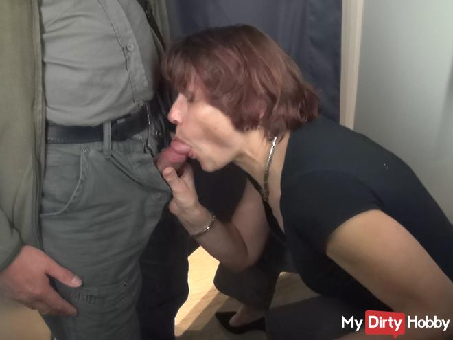 Locker room blow job