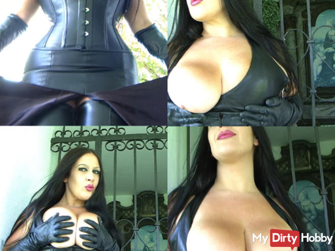 Leather lady shows you her tits