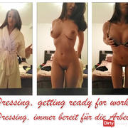 Dressing, getting ready for work !