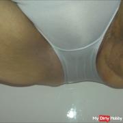 Slut pissing in the panties