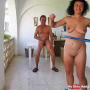 Hula hoop naked while wanking ...