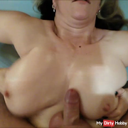 Fuck in Sandy with cum on her tits