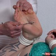 Closeup Nervenrad benutzt meine armen Fußsohlen !
