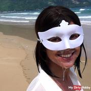 pi**e und sper*a in der Öffentlichkeit am Strand