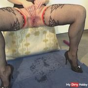 Pissing in net stockings and heels