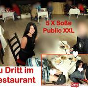 Public extrem! Geiler 3-er im Restaurant! 5x gespri**t