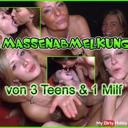 Massenmelkung von 3 Teens und 1 Milf