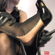 Stockings and latex gloves