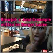 BLOWJOB + ANAL CREAMPIE CENTER IN THE BURGER STORE