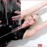 Lacquer tits wank - cock fetish milking